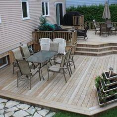 Patio Plan, Deck Plans, Diy Deck, Deck Patio, Montreal, Tiered Deck, Diy Terrasse, Backyard Patio Designs, House With Porch