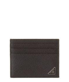 PRADA Prada Saffiano Cuir Leather Credit Card Holder'. #prada #wallets