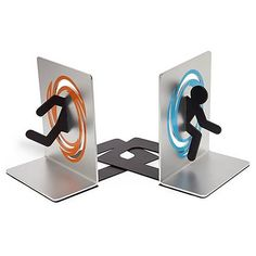 Clever and functional! These officially licensed Portal Bookends not only feature test subjects going through orange and blue portals, they also really, actually, pretty much keep your books in order!