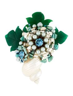 Lawrence Vrba Shell Flower Brooch