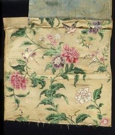 I have a 20th cen British textile that is based on this design - incredible! Textile panel and fragments of silk satin. Painted with a pattern of flowers, birds perched on stems or in flight, and butterflies. China (made) ca. 1770 (made)