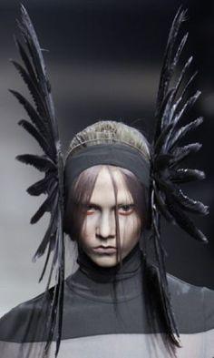 Dramatic Feather Headpiece - dark fashion; gothic millinery; wearable art // Gareth Pugh Fall 2010
