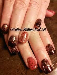 Cute Fall Nail Art Ideas Holiday Nail Art, Fall Nail Art, Autumn Nails, Fall Nail Colors, Nails To Go, Hot Nails, Hair And Nails, Manicure Y Pedicure, Manicure Ideas
