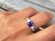 REAL Sterling Silver Simulated Blue Tanzanite and Cubic Zirconia Ring