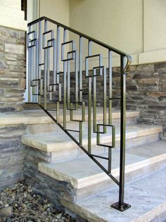 Mid Century Entry Stair Rail Railings Outdoor Metal Stair