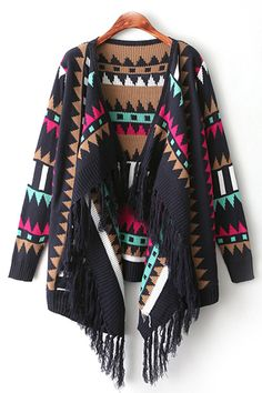 Cute Aztec Pattern Multi Colored Cardigan Sweater