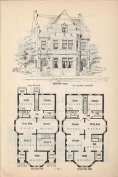1873 Print House Home Architectural Design Floor Plans Victorian ...