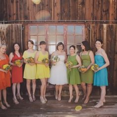 Rainbow-hued bridesmaid dresses are just the icing on the cake of this California wedding from Sean Flanigan + Jesi Haack!