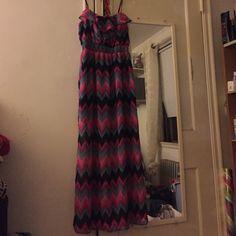 Long Beautiful Dress Black Teal & Pink Ruffle Dress worn only once Dresses