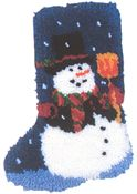 """Snowman Stocking 12x17"""" kit comes complete with full color chart, 3.3 mesh latch hook canvas, pre-cut yarn is 2 x 3 ply pre-cut acrylic rug yarn (equivalent to 6 ply) and complete instructions. Assembly required"""