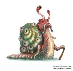 Cthulhu Snail from A series of Snails by Kiri Østergaard Leonard, via Behance. See more at wicked-fairytale.com #snail #illustration #cthulhu