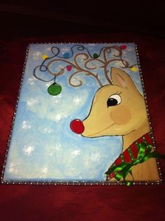 Painted Christmas reindeer on canvas