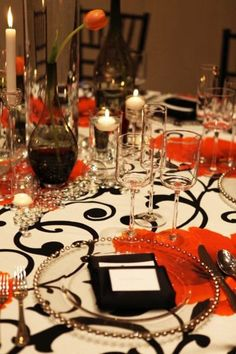 Wedding Reception, red with the orange and not black
