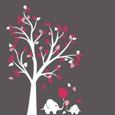 Muursticker witte boom met roze blaadjes en olifantjes - kinderkamer babykamer - Muurstickers&zo