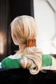 #Ponytail #Idea: Add an Accessory  If you're the kind of girl who loves a little something extra, add in a decorative clip.