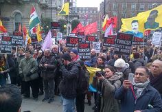 "Thousands of people joined a powerful demonstration In London today, Sunday, to say ""Stop Turkey's war on the Kurds"". The Kurds, London Today, Armed Forces, Human Rights, Police, Turkey, Sunday, Parties, Strong"