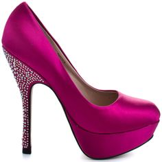 Relate to the phrase diamonds are a girl's best friend with these sparkly showstoppers from Steve Madden. At the 5 inch heel, gorgeous crystal embellishments amplify the fuchsia satin to create an unforgettable look.  Partyy R showcases a chunky 1 inch platform giving you a boost of sexy confidence to make your exit just as memorable as your entrance.
