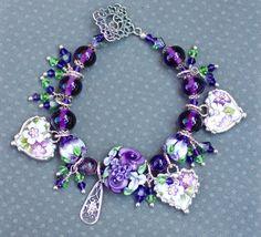 Broken China Bracelet Heart Charms Handmade Lampwork Beads Green and Purple Violets China