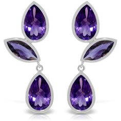 14K Solid White Gold Great Minds Amethyst Earrings - 3461-W