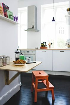 Fold down table & Step stool for eat in kitchen - Popping Up in the Kitchen: The BEKVÄM Step Stool From IKEA Ikea Step Stool, Ikea Hack Storage, Ikea Hacks, Ikea Bekvam, Bekvam Stool, Ikea Spice Rack, Kitchen Interior, Home Kitchens, Kitchen Remodel