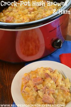 CrockPot Cheesy Hash Browns and Ham perfect for breakfast or a great side dish http://recipesforourdailybread.com/crock-pot-cheesy-hash-browns-ham/