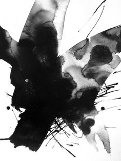 8x12in Abstract Art Ink Contemporary Painting Aquarelle Modern Watercolor Black