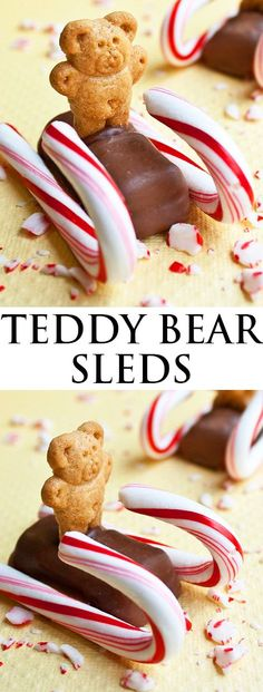 These cute TEDDY BEAR SLEDS are one of the easiest candy cane crafts ever for the Christmas holidays. These candy cane sleds are a fun and easy edible. Christmas Candy, Christmas Desserts, Christmas Baking, Fun Desserts, Delicious Desserts, Dessert Recipes, Christmas Holidays, Christmas Crafts, Christmas Cookies