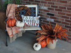 Southern Seazons: Fall is finally on the front porch Autumn Decorating, Porch Decorating, Bench Decor, Thanksgiving Table Settings, Fall Table, Fall Home Decor, Halloween, Front Porch Bench, Fall Decorations