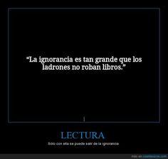 La ignorancia es tan grande, que los ladrones no roban libros.