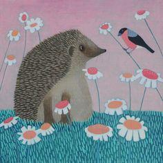 """Tall Tales"" Hedgehog and bullfinch Scottish Art from Ailsa Black"