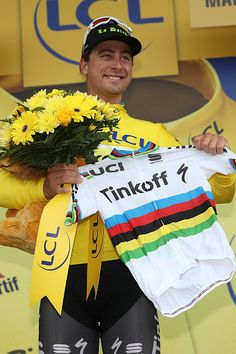 #TDF2016 Peter Sagan of Slovakia riding for Tinkoff celebrates after winning stage two and taking the yellow leader's jersey during stage two of the 2016 Le...