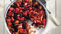 Grilled Berry Cobbler. If you're lucky enough to grow fresh berries in your backyard, this super-simple recipe is sure to become your go-to summer dessert! Sprinkle with additional lemon zest and serve with a generous dollop of yogurt and a drizzle of sweet honey.