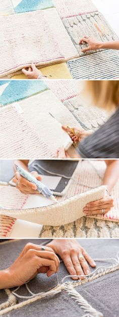 How to Make a Large Scale (Patchwork) DIY Rug - Rug making Diy Craft Projects, Diy Crafts, Craft Ideas, Hard Crafts, Sewing Projects, Decoration Crafts, Project Ideas, Diys, Carpet Samples