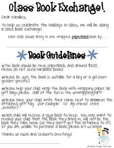 Holiday Book Exchange Letter  Classroom Celebrations