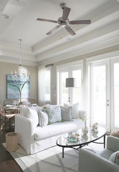 Beach Cottage with Small Neutral Coastal Interiors -Sherwin Williams Alabaster on the walls and Sherwin Williams Reflective White on ceiling and trim.
