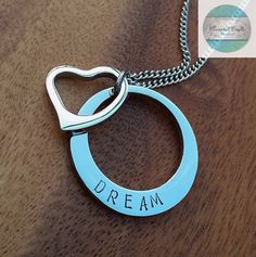 Dream Personalised Hand Stamped Silver Name by CoorabellCrafts Love Stamps, Hand Stamped Jewelry, Felt Hearts, Gifts For Mum, Christmas 2016, Washer Necklace, Gift Ideas, Personalized Items, Pendant