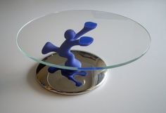 Vintage Cupcake Stand or Cake Plate - Bimboveloce Alessi designed by Mattia Di Rosa - Unique Made in Italy - Blue Man Holding up Glass