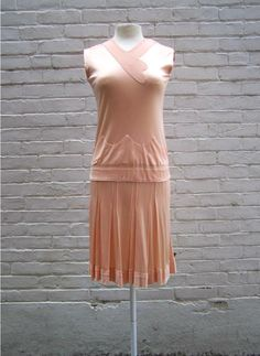1920s Pale Pink Slinky Drop Waist Dress