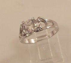 Ladies Russian Formula Clear CZ Silver Finish Ring ~Size 7 -Free Gift Box