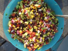 Texas Caviar Recipe    2 avocados  2 tomatoes (remove pulp inside)  1/2 red onion chopped  1 can black beans (rinsed)  1 can Green Giant Mexicorn  juice of 1 lime  fresh cilantro chopped to taste  1/3 c white vinegar  1/3 c olive oil  1 packet good seasons Italian seasoning (mix with vinegar and olive oil)  Chop it all up and mix it together. Double for a large party.