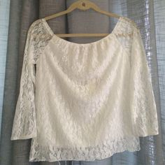 NWT White Lace Top never used! tag still on!! great condition!! the tag says a large but it runs small Finejo Tops Blouses