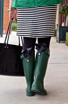 Leopard bows for any rain boots (shown here with Hunter Boots in ...