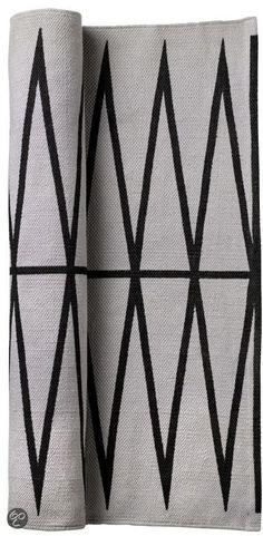 Bloomingville Zizag - Vloerkleed  - Grijs/Zwart - 60x120cm