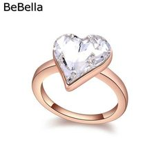 Romantic heart crystal finger ring for engagement made with Swarovski Elements
