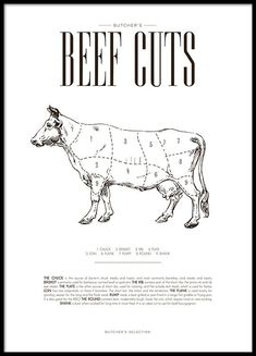 Nice kitchen Poster with beef chart, butcher chart of beef. We have more posters for the kitchen with different cuts of beef, chicken, lamb and pork that goes well with a clean and modern design. Combine this with our prints of herbs and drink r Kitchen Posters, Kitchen Prints, Kitchen Wall Art, Parts Of A Cow, Home Poster, Poster 70x100, Modern Hipster, Groups Poster, Home Decoracion