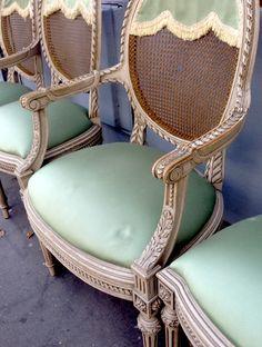 Green satin chairs at the #Paris #fleamarket #Clignancourt