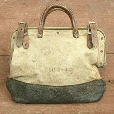 vintage leather & canvas industrial worker tool bag