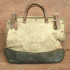 vintage leather & canvas industrial worker tool bag