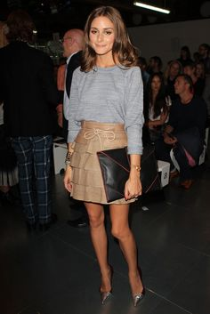Olivia at London Fashion Week Spring 2013. Grey and beige. Who'd have thought they would look so good together. Biddy Craft