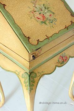 Vintage Home Shop - Antique Hand Painted Floral Lady's Writing Bureau: www.vintage-home.co.uk